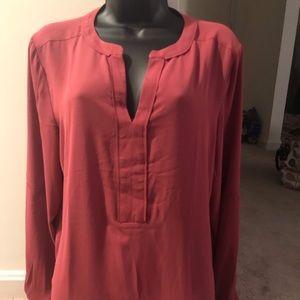 Long-sleeved M burnt orange LOFT v-neck blouse